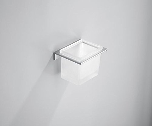 Notley Modern Designer Bathroom Accessories Solid Brass Chrome Plated Minimal Square Toilet Roll Holder