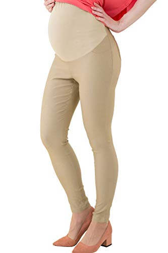 Sweet Mommy Skinny Leg Maternity Colored Pants, Beige, L