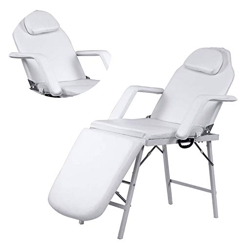 Adjustable Barber Spa Salon Massage Bed Facial Beauty Tattoo Chair White (73″)