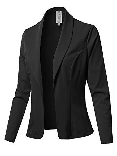 Solid Long Sleeve Open Front Office Blazer Jacket Black 2XL