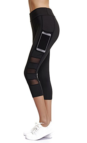 Joyshaper Capri Leggings for Women High Waisted Workout Compression Black Yoga Pants Girls Cropped Tights(Black Capris, L) ()