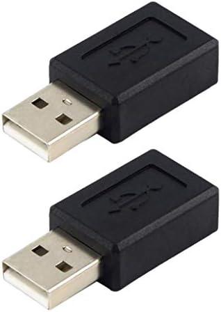 USB2.0オスマイクロ USBメスアダプタデータ変換プラグ 充電 2本 ブラック