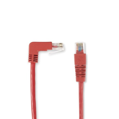 Straight 15-ft. 4.5-m Black Box SpaceGAIN CAT6 250-MHz Angled Patch Cable 90 deg Red Down-180 deg UTP