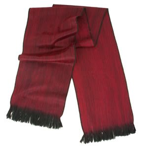 South American Artisans Solid Dark Red with Black Trim Color Alpaca Fiber Reversible XL Scarf