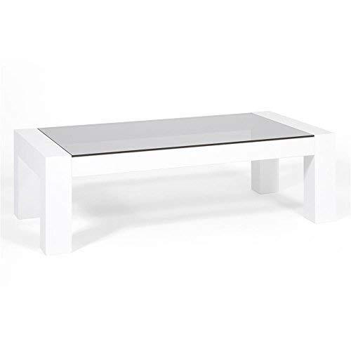 Mobili Vetro Temperato.Mobili Fiver Iacopo Tavolino Da Salotto Piano In Vetro Temperato Colore Frassino Bianco 100x50x30 Cm