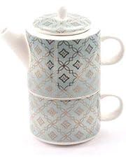 dethtlefsen Tea for One - Juego de Tetera y Taza (Porcelana, 3 Piezas, 0,32 L)