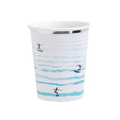 - Fire and Creme Surf Foiled Paper Party Cups White Silver Blue Watercolor 9 ounce - Pack of 8