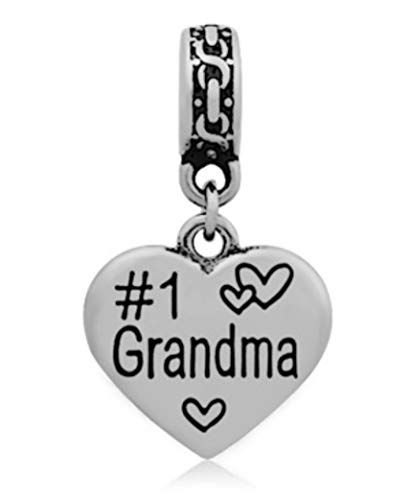 J&M Dangle #1 Grandma Heart Charm for Bracelets