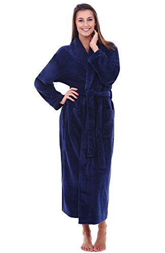 Womens Plush Fleece Robe, Warm Bathrobe, 1X 2X Navy Blue (A0117NBL2X) ()