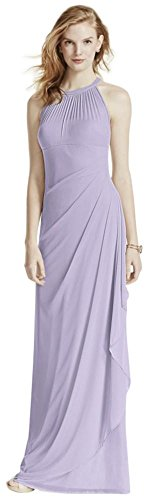 David's Bridal Long Mesh Bridesmaid Dress with Illusion Neckline Style F15662, Iris, 14 ()