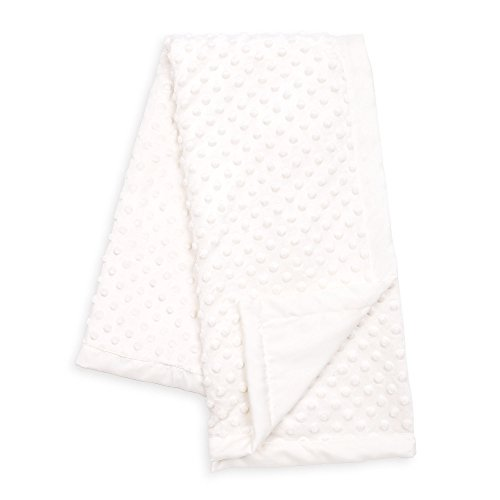 White Minky Dot Baby Blanket, Reverses to White Satin, by Th