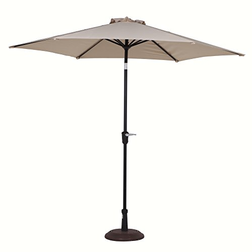 Grand Patio 9FT Aluminum Patio Umbrella, UV Protective Beach Umbrella with Push Button Tilt and Crank, Powder Coated Outdoor Umbrella, Beige (Outside Table And Chairs For Sale)