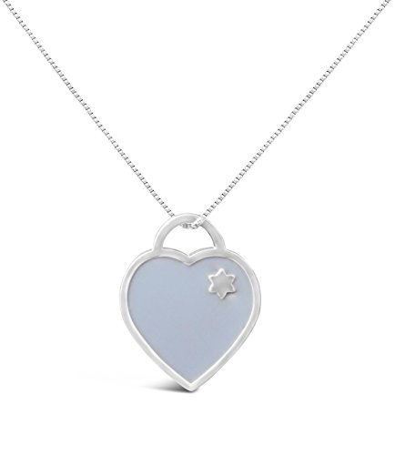 Judaica Jewelry (Heart + Jewish Star + Chai Hebrew Necklace Silver Jewelry for Girls in Blue with Chain | Alef Bet)