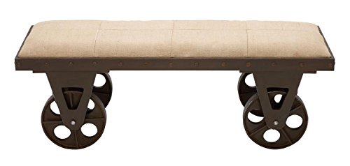 Deco 79 Portable Dressing Bench with Rolling Wheels, Brown price