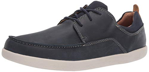 CLARKS Men's Un Lisbon Lace Sneaker, Navy Leather & Canvas Combi, 105 M US