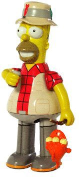 Wind Up Bender - FISHING HOMER SIMPSON w/ Duff Beer, Fishing Pole & Blinky the Fish Official Tin Action Toy * 8 Inch Tin Toy Wind Up * from Rocket USA by The Simpsons