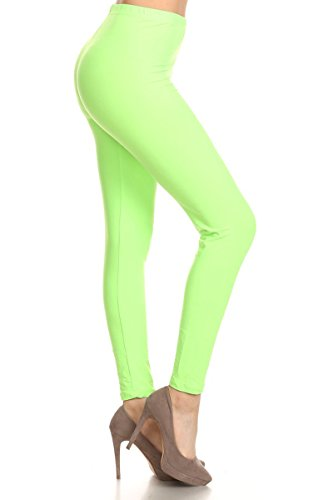 (LDR128-NeonGreen Basic Solid Leggings, One)