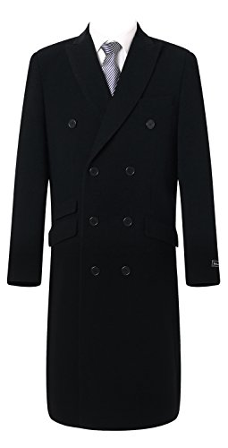 The Platinum Tailor Mens Double Breasted Cashmere & Wool Overcoat Winter Cromby with Velvet Collar & Lining (Black, 48) - Double Breasted Cashmere