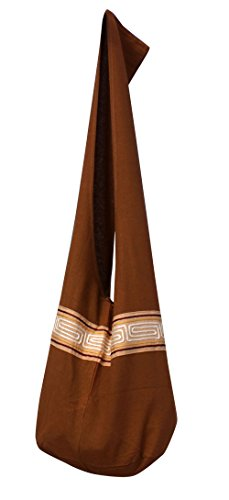 Shoulder Sienna with Cotton RaanPahMuang Line Chinese Grain Yaam Bag Brown Monks Motif Brand wqIF1