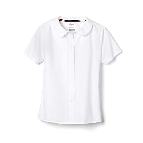 French Toast Girls' Big Short Sleeve Modern Peter Pan Collar Blouse, White, 7