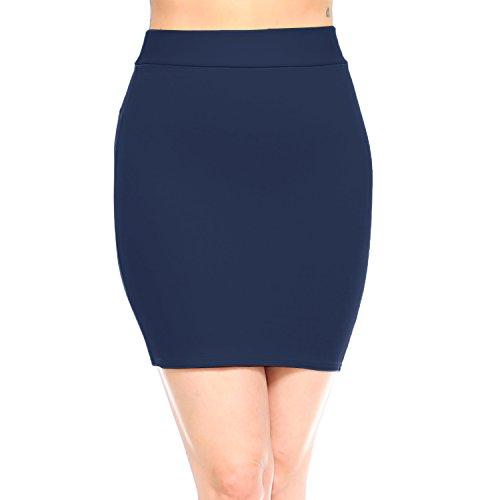 (Fashionazzle Women's Casual Stretchy Bodycon Pencil Mini Skirt (Small, KS07-Navy/Ponte))
