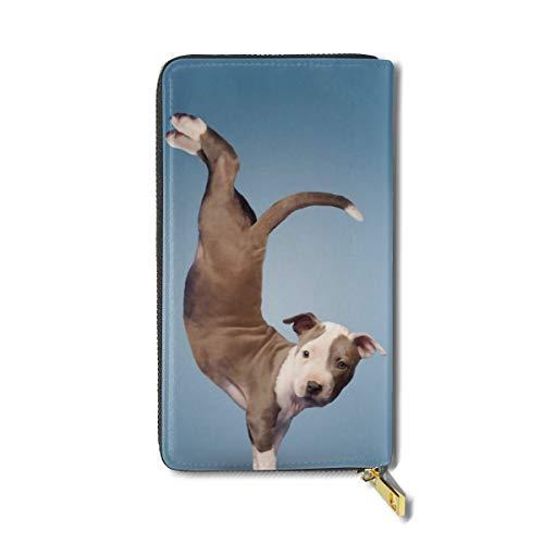 Pit Bull Puppy Dog Women Men Leather Wallet, Multi-card Long Purse