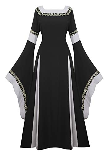 Renaissance Costume Women Medieval Dress Bell Sleeve Lace Up Vintage Retro Long Dress Halloween Cosplay Costumes, Black, Large