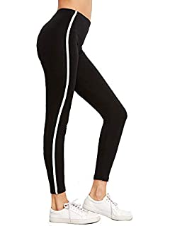 cce22c5a4996ba Shocknshop Black Striped Side Ankle-Length Skinny Bottoms Women Mid Waist  Casual Leggings (LEG26
