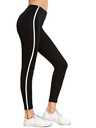 2e476bf7aa964 Shocknshop Black Striped Side Ankle-Length Skinny Bottoms Women Mid Waist  Casual Leggings (LEG26): Amazon.in: Clothing & Accessories
