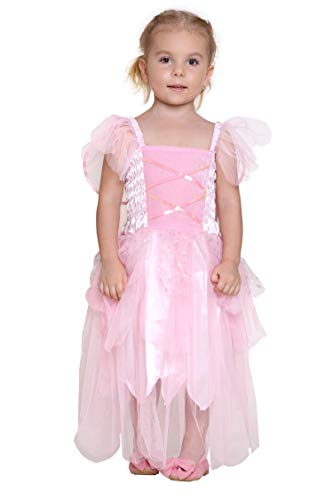 Girls Princess Tinkerbell Costume Long Dress Fairy Wings Birthday Party Halloween (Pink 2-4 Year) -