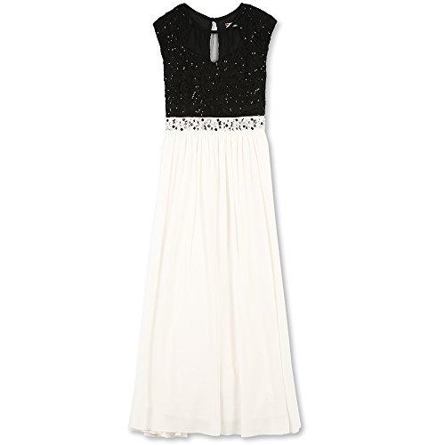 Speechless Girls' Big Sequin Bodice Jeweled Waist Maxi Dress, Black/Ivory 8