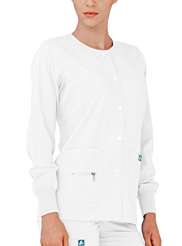 Adar Indulgence Womens Jr Fit Multi Pocket Warm-Up Scrub Jacket - 4216 - White - S (Jacket Uniform Nursing)