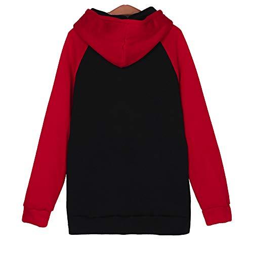 Elegante Donna Maglietta Plus Stampa Moda Donna Collo Manica Pullover Cappuccio Top Size Camicetta Eleganti Camicia Rosso Lunga VICGREY Top Con Lunga Donne Tasca Manica Felpa BxqgBd