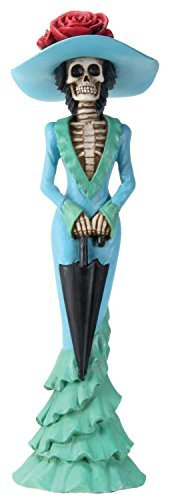 YTC 2.75 Inch Day of The Dead Lady Parasol Skeleton in Teal Dress Figurine -