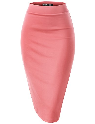 TWINTH Women's High Waist Stretch Bodycon Pencil Skirt Coral M