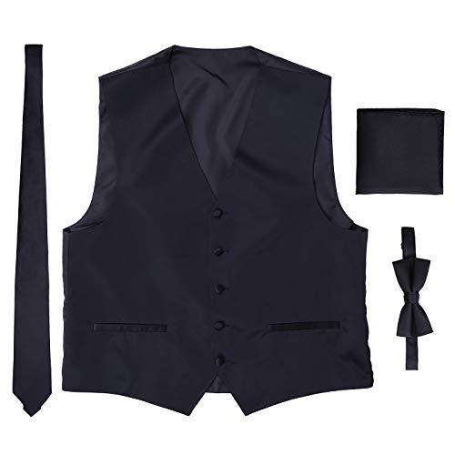 HDE Black Vest Black Ties Black Bow Tie