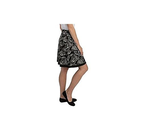 Skirt Spandex Reversible (Colorado Company Womens Reversible Tranquility Skirt (Small, Black Blooms))