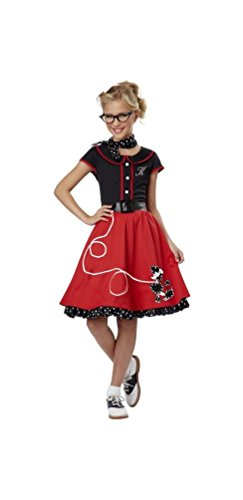 50's Sweetheart Child Costume Red - Medium