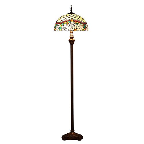 Jeweled Rose Stained Glass - Bieye L10572 16-inches Jeweled Rose Tiffany Style Stained Glass Floor Lamp
