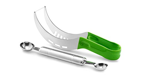 BCI Watermelon Slicer Corer Cutter Knife Tongs with Silicon Handle and Two Headed Melon Baller Set