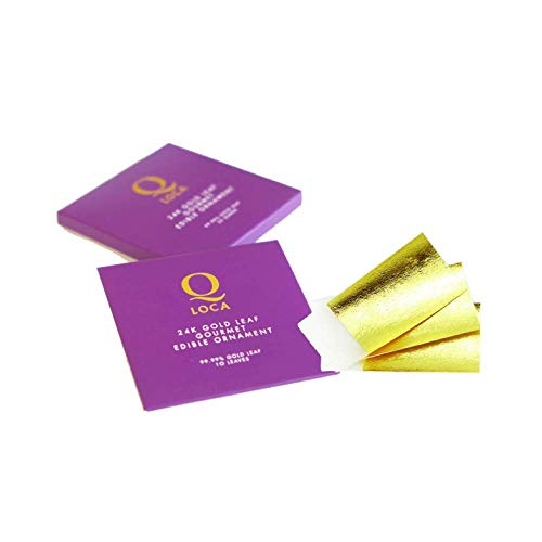 - Q-loca 24K Edible Loose Gold Leaf 10 sheets, size 35x35 mm
