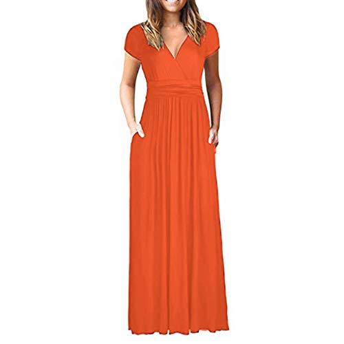 - iHPH7 Dress V Neck Elegant Long Bridesmaid Dress Wedding Evening Dress Solid Shortsleeve Maxi Dresses Casual Long Dresse with Pocket Women's (XL,Orange)