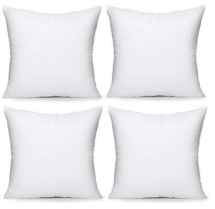 Premium Hypoallergenic Polyester Decorative Pillows High Loft Throw Pillows Set of 4 18x18 Pillow Inserts - Great Couch Pillows, Bed Pillows, Floor Pillows