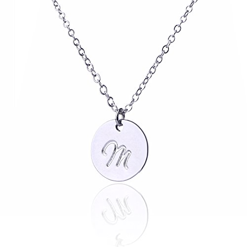 AOLO Minimalist Necklace Delicate Initial Charm M Necklace