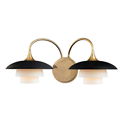 Aged Brass Wall Light (Hudson Valley Lighting 1012-AGB Barron 2 Light Wall Sconce, Aged Brass, Black)