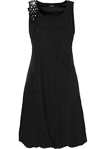 Damen Trägerkleid mit Perlen und Glitzersteinen, 119480 in Schwarz