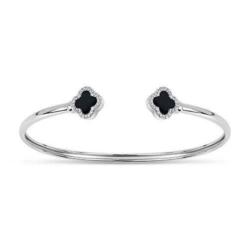 Sterling Silver Double Onyx with Cubic Zirconia Clover Open Cuff Bangle