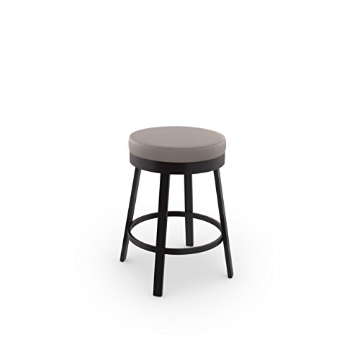(Amisco Clock Swivel Metal Counter Stool, 26-Inch, Dark Brown Metal and Warm Grey Polyurethane)