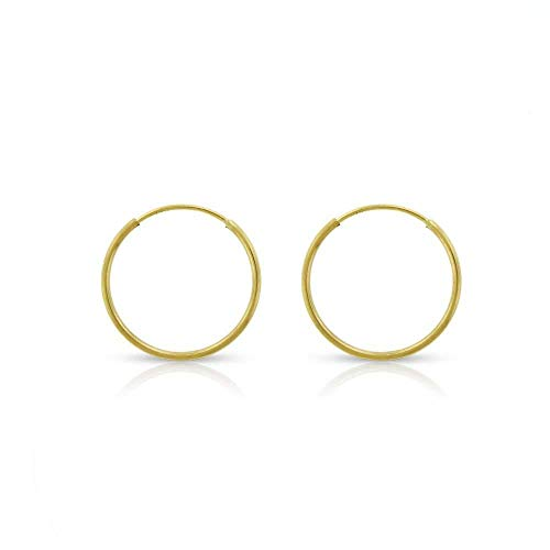 - 14k Yellow Gold Women's Endless Continuous Round Tube Hoop Earrings 1mm Thick 10mm - 20mm, Basic & Diamond-Cut (12mm)