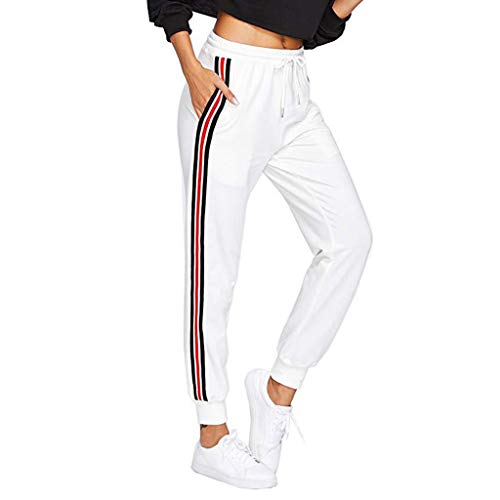 - AOJIAN Sport Pants Buttery Soft Striped Trousers Jogger Capri Workout Running Sports Leggings for Women White